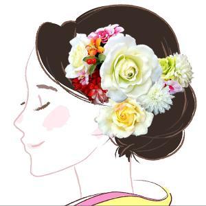 セール 髪飾り 4点セット kk-038  淡い黄緑色 ピンク 白 赤 コーム型 かんざし 成人式振袖  卒業式  |kyouto-usagido