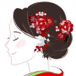 髪飾り2点セット  かんざし つまみ細工 赤色 成人式振袖 kk-046|kyouto-usagido