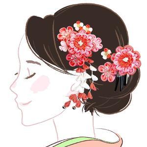 髪飾り2点セット  かんざし つまみ細工 ピンク色 成人式振袖 kk-047|kyouto-usagido