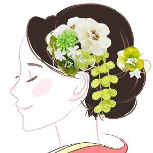 髪飾り2点セット  かんざし つまみ細工 グリーン 緑 成人式振袖用 kk-049 kyouto-usagido