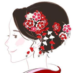 髪飾り2点セット  かんざし つまみ細工 赤 レッド 成人式振袖用 kk-052 kyouto-usagido