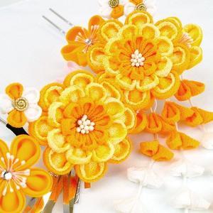 髪飾り2点セット  かんざし つまみ細工 オレンジ 成人式振袖用 kk-053|kyouto-usagido|02