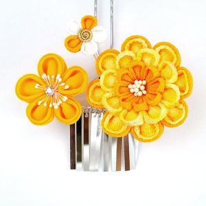 髪飾り2点セット  かんざし つまみ細工 オレンジ 成人式振袖用 kk-053|kyouto-usagido|03