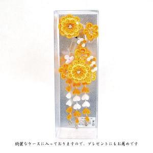髪飾り2点セット  かんざし つまみ細工 オレンジ 成人式振袖用 kk-053|kyouto-usagido|05