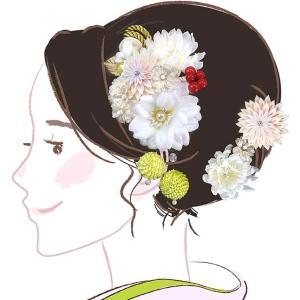 髪飾り 3点セット kk-057  白 ホワイト 花かんざし 組紐 成人式 振袖 浴衣 卒業式|kyouto-usagido