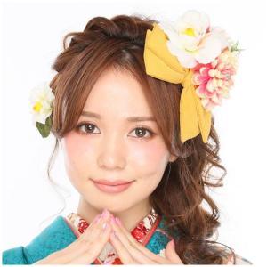 髪飾り 3点セット kk-062 イエロー コーム型 かんざし 成人式 振袖 卒業式 花 リボン|kyouto-usagido
