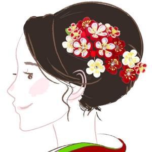 髪飾り ちりめん 2点セット kk-078 オレンジ 白  コーム型 かんざし 成人式 振袖 卒業式 花|kyouto-usagido