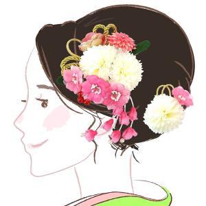 髪飾り  2点セット kk-083  ピンク 白  コーム型 かんざし 成人式 振袖 卒業式 花|kyouto-usagido