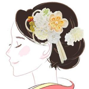 髪飾り つまみ細工 かんざし kk-353  白  コーム型 成人式 振袖 卒業式|kyouto-usagido