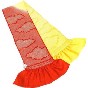 特選 正絹総絞り帯揚げ 絹100% oa-289 赤 黄色 送料無料 kyouto-usagido