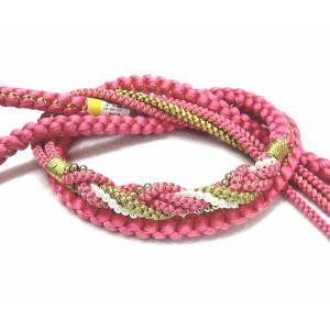 新品、正絹手組み帯締め ピンク色 振袖用  oj-301 kyouto-usagido