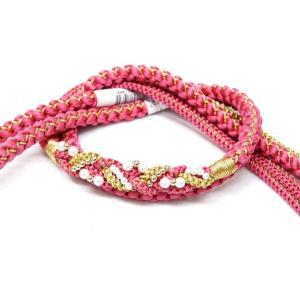 新品、正絹手組み帯締め ピンク色 振袖用  oj-393 kyouto-usagido