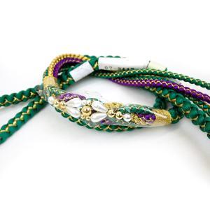 正絹手組み帯締め oj-435 朱色 振袖用  kyouto-usagido