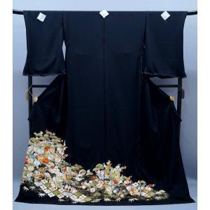 決算セール フルオーダー 手縫い仕立て付き 正絹 黒留袖  to-215 古典  総手刺繍 正絹 特選品 結婚式 kyouto-usagido