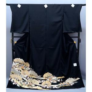 決算セール フルオーダー 手縫い仕立て付き 正絹 黒留袖 to-252 手描友禅 古典 松華文様 結婚式 kyouto-usagido