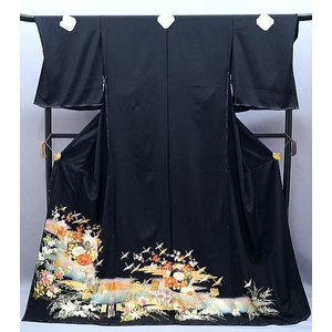 黒留袖 正絹 友禅 菱文様 四季花に鶴 to-355 金駒刺繍 結婚式|kyouto-usagido