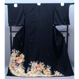 黒留袖 正絹 友禅 菱文様 鼓に扇面柄 to-357 金駒刺繍 結婚式|kyouto-usagido