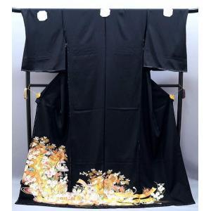 黒留袖 正絹 友禅 菱文様 御所車文様 to-358 金駒刺繍 結婚式|kyouto-usagido