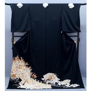 決算セール フルオーダー 手縫い仕立て付き 正絹 黒留袖 to-392 手描友禅 古典 貝桶に幔幕文様 結婚式 kyouto-usagido