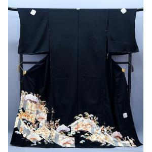 決算セール フルオーダー 手縫い仕立て付き 正絹 黒留袖 to-396 手描友禅 古典 手描友禅  松竹梅に幔幕文様 結婚式 kyouto-usagido