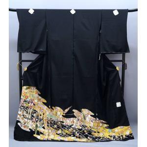 決算セール フルオーダー 手縫い仕立て付き 正絹 黒留袖 to-397 手描友禅 古典 松竹梅文様 結婚式 kyouto-usagido