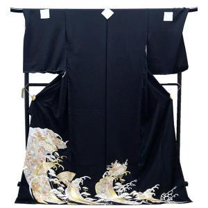 決算セール フルオーダー 手縫い仕立て付き 正絹 黒留袖 to-398 手描友禅 古典 扇面に波文様 結婚式 kyouto-usagido
