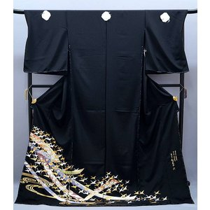 セール フルオーダー 手縫い仕立て付き 正絹 黒留袖  to-399 古典 和田光正 金彩 友禅 束のしめに鶴文様 結婚式|kyouto-usagido
