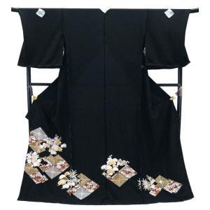 セール 仕立て付き 正絹 黒留袖  手刺繍 to-501 古典 総手刺繍 宝尽くしに菱文様 結婚式 婚礼 フォーマル|kyouto-usagido