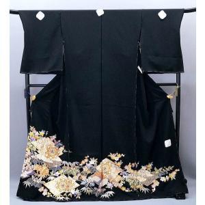 決算セール フルオーダー 手縫い仕立て付き 正絹 黒留袖 to-510 手描友禅 古典 松竹梅文様 結婚式|kyouto-usagido