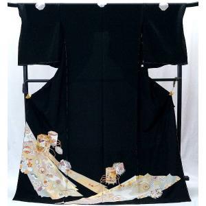 決算セール フルオーダー 手縫い仕立て付き 正絹 黒留袖  to-515 手描友禅 古典 貝桶文様 結婚式 kyouto-usagido