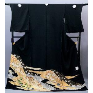 決算セール フルオーダー 手縫い仕立て付き 正絹 黒留袖 to-516 手描友禅 古典 遠山吉祥文様 結婚式 kyouto-usagido