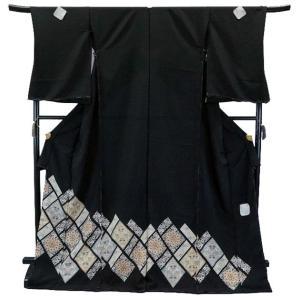 SALE セール 手縫い仕立て付  正絹 黒留袖 手描き友禅  to-517 流鏑馬(やぶさめ)菱華文  結婚式  婚礼|kyouto-usagido