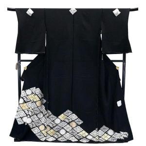 SALE セール 手縫い仕立て付  正絹 黒留袖 手描き友禅  to-519 菱華文  結婚式  婚礼  和装|kyouto-usagido