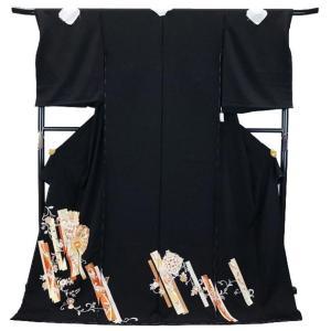 SALE セール 手縫い仕立て付  正絹 黒留袖 手描き友禅  to-520  菊に短冊文様  結婚式  婚礼  和装|kyouto-usagido