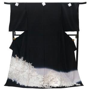 仕立て付き  総手刺繍 正絹黒留袖 to-523 菊花文柄 婚礼 結婚式|kyouto-usagido