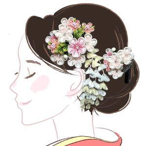 髪飾り2点セット wk-252  花かんざし 成人式 振袖 浴衣 卒業式 つまみ細工 白 ピンク |kyouto-usagido