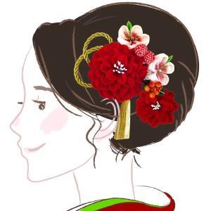 髪飾り2点セット かんざし つまみ細工 白色 コーム ピン wk-331 成人式振袖 ちりめん細工 |kyouto-usagido