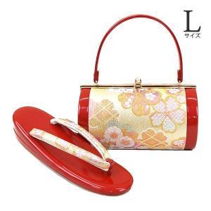 Lサイズ 草履バッグセット zb-1001 レビューで足袋プレゼント 送料無料 (桜 佐賀錦 成人式 振袖 結婚式 レッド 赤)|kyouto-usagido