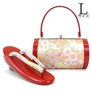 Lサイズ 草履バッグセット zb-941 レビューで足袋プレゼント 送料無料 (桜 佐賀錦 成人式 振袖 結婚式 レッド 赤)|kyouto-usagido
