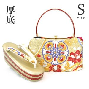 Sサイズ 厚底 草履バッグセット zb-996 レビューで足袋プレゼント 送料無料(金 ゴールド 日本製 成人式 結婚式 振袖 小さい 小さめ) kyouto-usagido