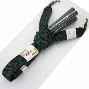 男性用 羽織紐 平組 和装小物 着物小物 男着物 羽織 平くみ 絹 濃緑|kyouya
