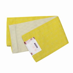 浴衣帯 半巾帯 リバーシブル 半幅帯 ゆかたおび 小袋 麻の葉柄 黄色 237|kyouya