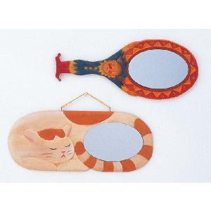 木彫鏡かざり(しな材) 小|kyouzai-j