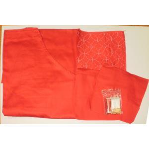家庭科教材 基礎縫い スタディエプロン(刺し子付) 赤|kyouzai-j