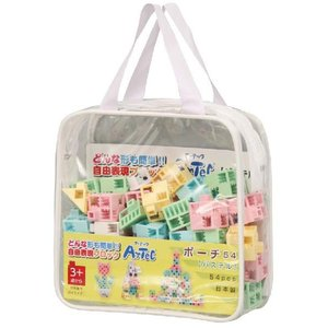 教材 知育玩具 遊び創意 ブロック ポーチ54 パステル|kyouzai-j
