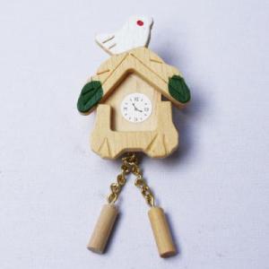 教材 家族工作・大人の工作  ミニチュアドールハウスミニチュアパーツ(鳩時計 白木)|kyouzai-j