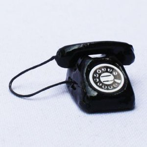 教材 家族工作・大人の工作  ミニチュアドールハウスミニチュアパーツ(黒電話) kyouzai-j