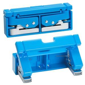 LIHIT LABリヒトラブ コンパクトパンチ P-1040ブルー 青  折りたたみ ワンタッチ式携帯穴あけ|kyouzai-j