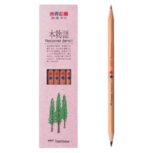学童用品 鉛筆   トンボ 赤青鉛筆 木物語(朱藍)|kyouzai-j