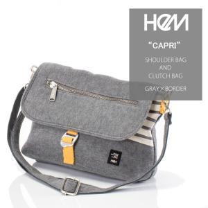 HeM(ヘム) ショルダーバッグ 2way クラッチバッグ カプリ グレー×ボーダー ST-253-01 kyowa-bag